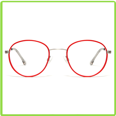 round poppy red acetate frames with stainless steel temples