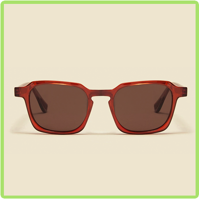 red frames with dark rose gray lenses
