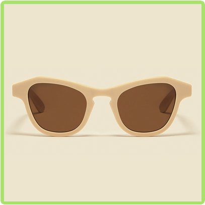 cream frames with brown lenses