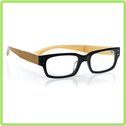 Eyebobs model called 'Oh Shoot!' in Black front with Bamboo temples