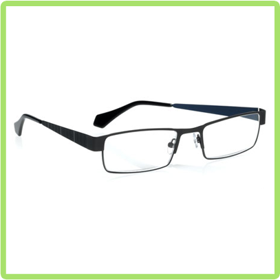 eyebobs Dirty Martini in Gunmetal front with Blue stripe temples