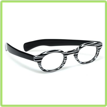 Adult Supervision in Black and White stripe front with Black temples