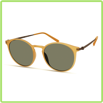 rounded matte yellow frames with gray green lenses