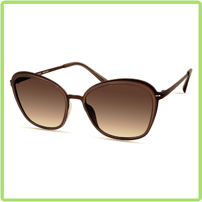 Upswept trapezoidal shaped brown frames with brown lens